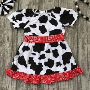 Other - Girls Cow Print Ruffle Bandana Cowgirl Farm Dress